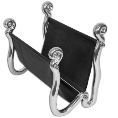 Carrol Boyes Wave Black Leather Magazine Rack