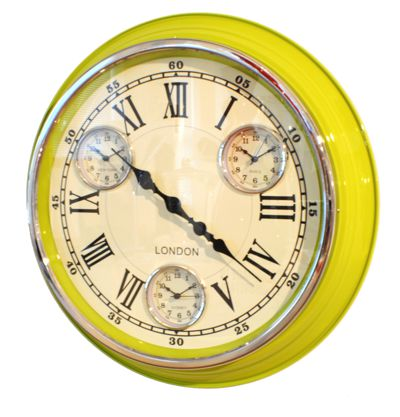 Modern Vintage Time Zone Wall Clock Lime Green