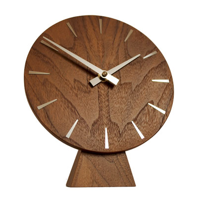 In House Solid Walnut Disc Mantel Clock