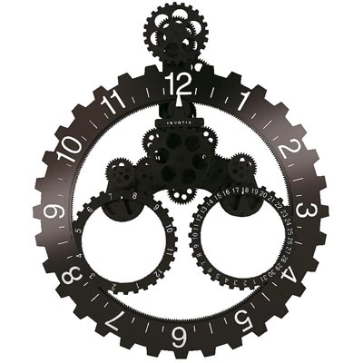 Uk Invotis Wall Gear And Date Clock Black White No S