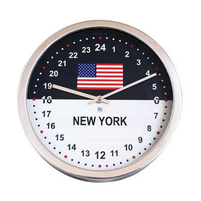 24hr Time Zone Flag Clock