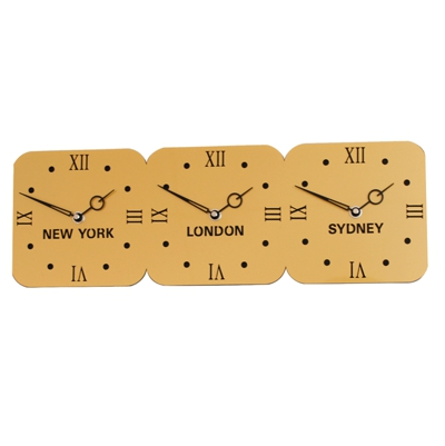 Roco Verre Gold & Black Acrylic Time Zone Clock