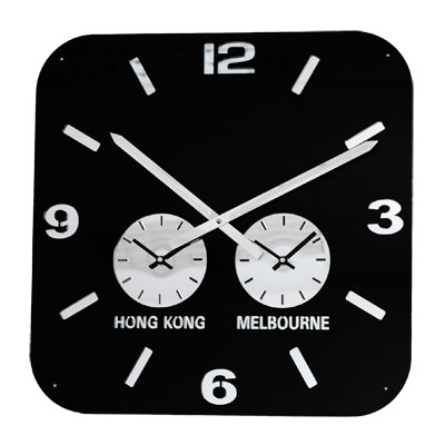 Roco Verre Retro City Time Clock Black