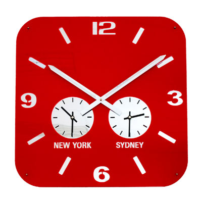 Roco Verre Retro City Time Clock Red