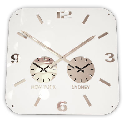 Roco Verre Retro City Time Clock White