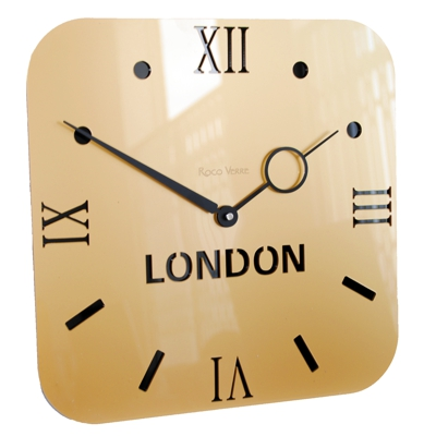 Roco Verre Gold  Acrylic Time Zone Clock Single
