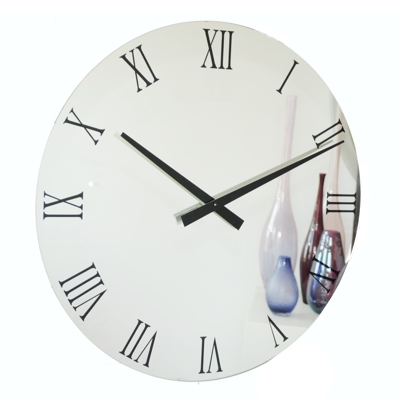 Extra Large Black Roman Numerals Mirror Wall Clocks Uk