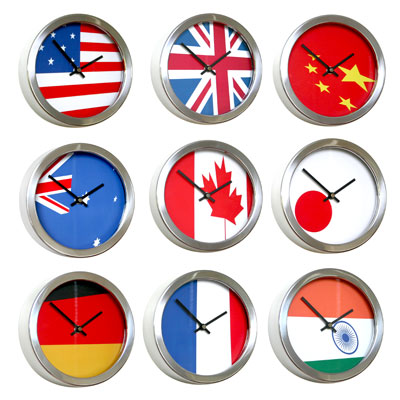 Roco Verre Abstract Flag Clocks 26cm