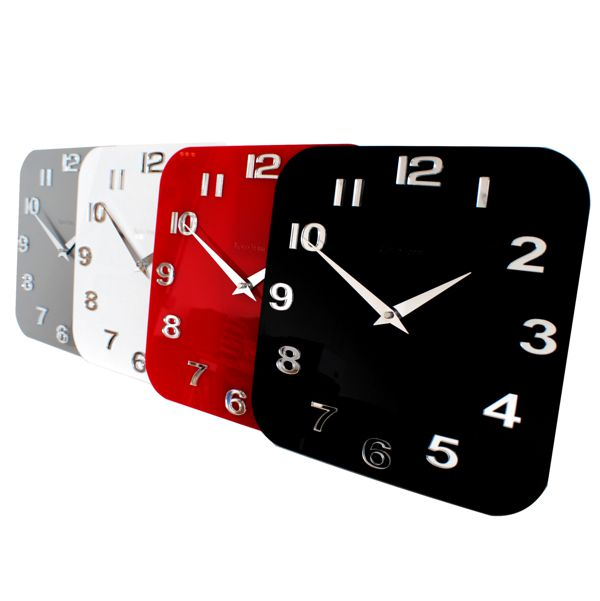 Gloss white red black silver modern kitchen retro wall Modern clocks for kitchen