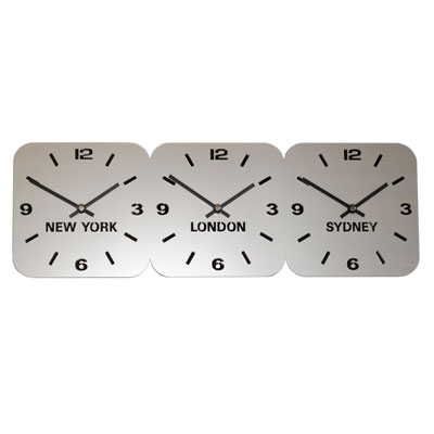 Roco Verre Silver Acrylic Time Zone Clock LARGE