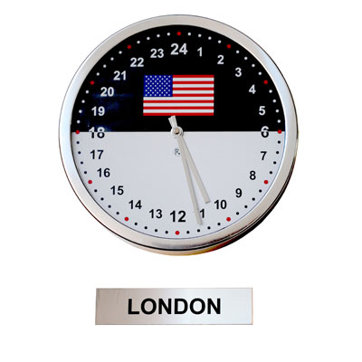 24hr Time Zone Flag Clock & Sign