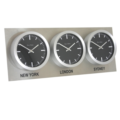 Roco Verre Custom Time Zone 3 26cm Clocks Steel