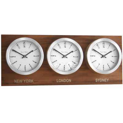Roco Verre Custom Time Zone 3 26cm Clocks Walnut