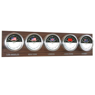 Roco Verre Custom World 5 18cm Flag Clocks Walnut