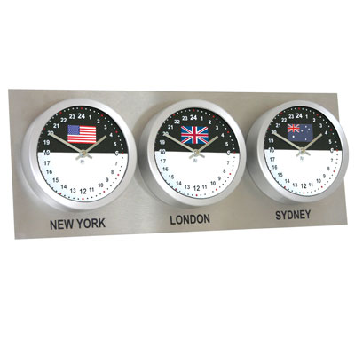 Roco Verre Custom World 3 26cm Flag Clocks Steel