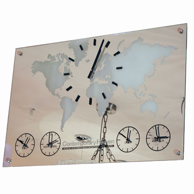 Mirror Map Five Time Zone Clock