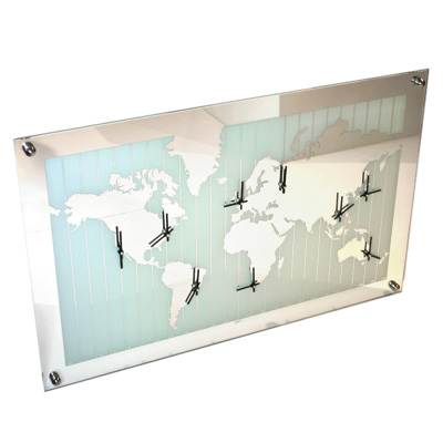 Mirror World Map Timezone clock