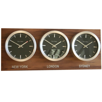 Roco Verre Time Zone 3 Clocks Walnut Range