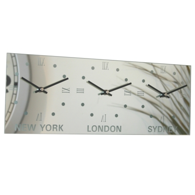 Roco Verre Custom Roman Mirror Time Zone Clock