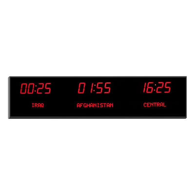 "Roco Verre Deluxe Digital Time Zone Clock 2.5"" Red"