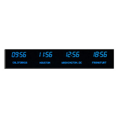 "Roco Verre Deluxe Digital Time Zone Clock 4"" Blue"