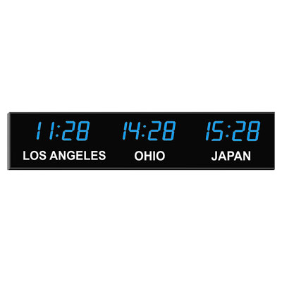 "Roco Verre Digital Time Zone Clock 4"" Blue Digits"