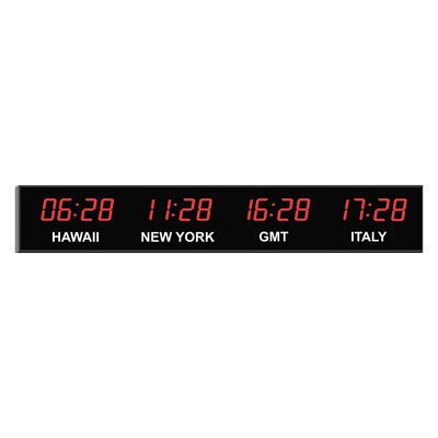 "Roco Verre Digital Time Zone Clock 4"" Red Digits"