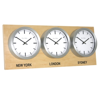 Roco Verre Time Zone 3 Clocks Maple Range
