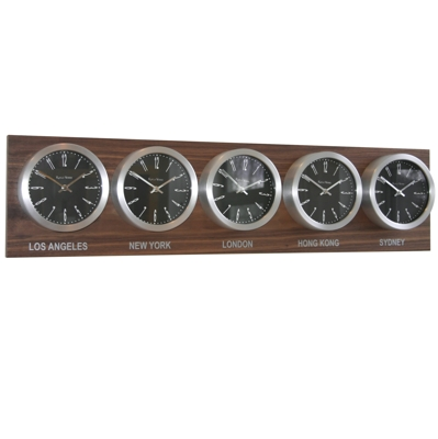 Roco Verre Time Zone 5 Clocks Walnut Range
