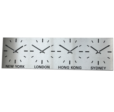 Brushed Stainless Steel 4 Dial Timezone Clock