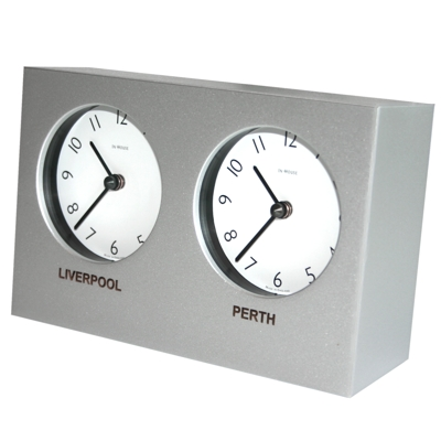 In House Custom Silver Dual Timezone Desk Clock