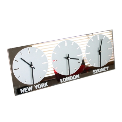 Horizontal Frosted Mirror Clock 2 (Black Hands)