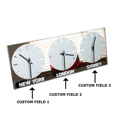 Horizontal Frosted Mirror Clock 2 Black Hands