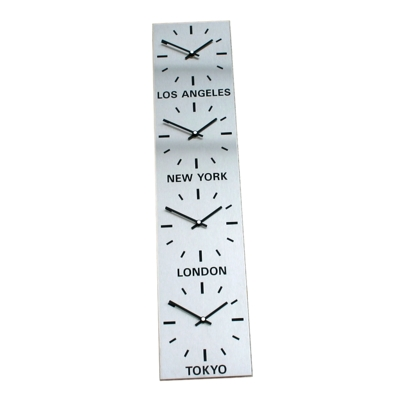 Brushed Stainless Steel Vertical Time Zone Clock