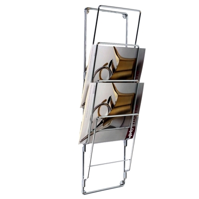 Chrome Wire Wall Magazine Rack