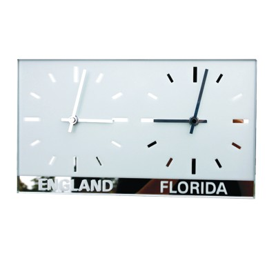 Dual Dial Frosted Mirror World Clock 1
