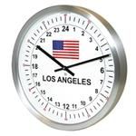 24hr Timezone Flag Modern Classic Clock Brushed