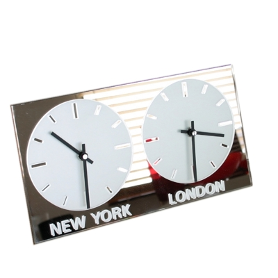 Dual Dial Frosted Mirror World Clock 2 Black Hands