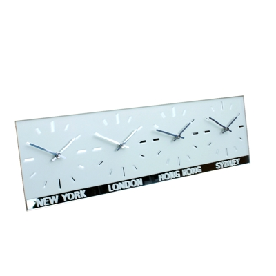 Horizontal Frosted Mirror World Clock (4 dial)