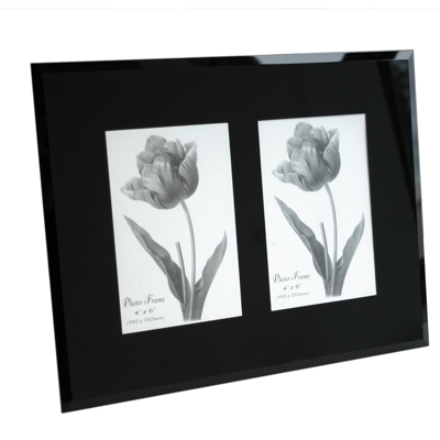 BLACK Bevelled Glass Dual Photo Frame