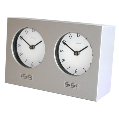 In House Silver Dual Dial Desk Clock