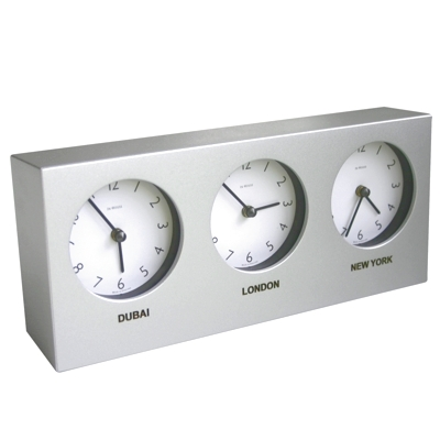 In House Custom Silver Triple Timezone Desk Clock