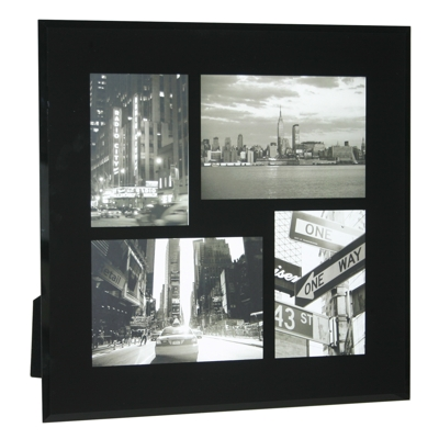 Black Bevelled Glass Four Picture Multi Frame