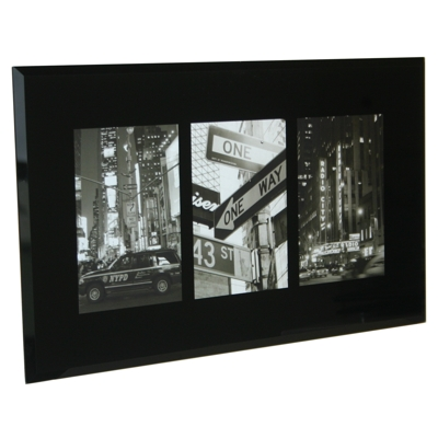 Black Bevelled Glass Triple Frame