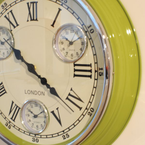 Lime Green Funky Vintage Modern Wall Clock Uk