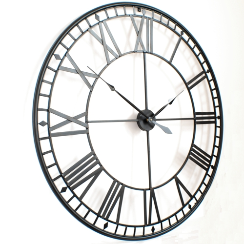 Extra Large Roman Big Vintage Black Skeleton Wall Clock Uk