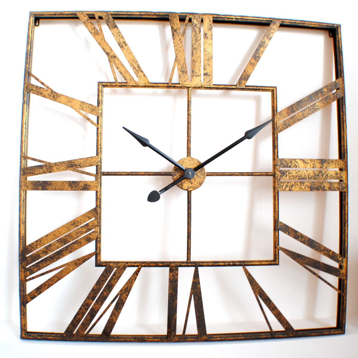 Large vintage roman gold square wall clock uk for Large gold wall clocks