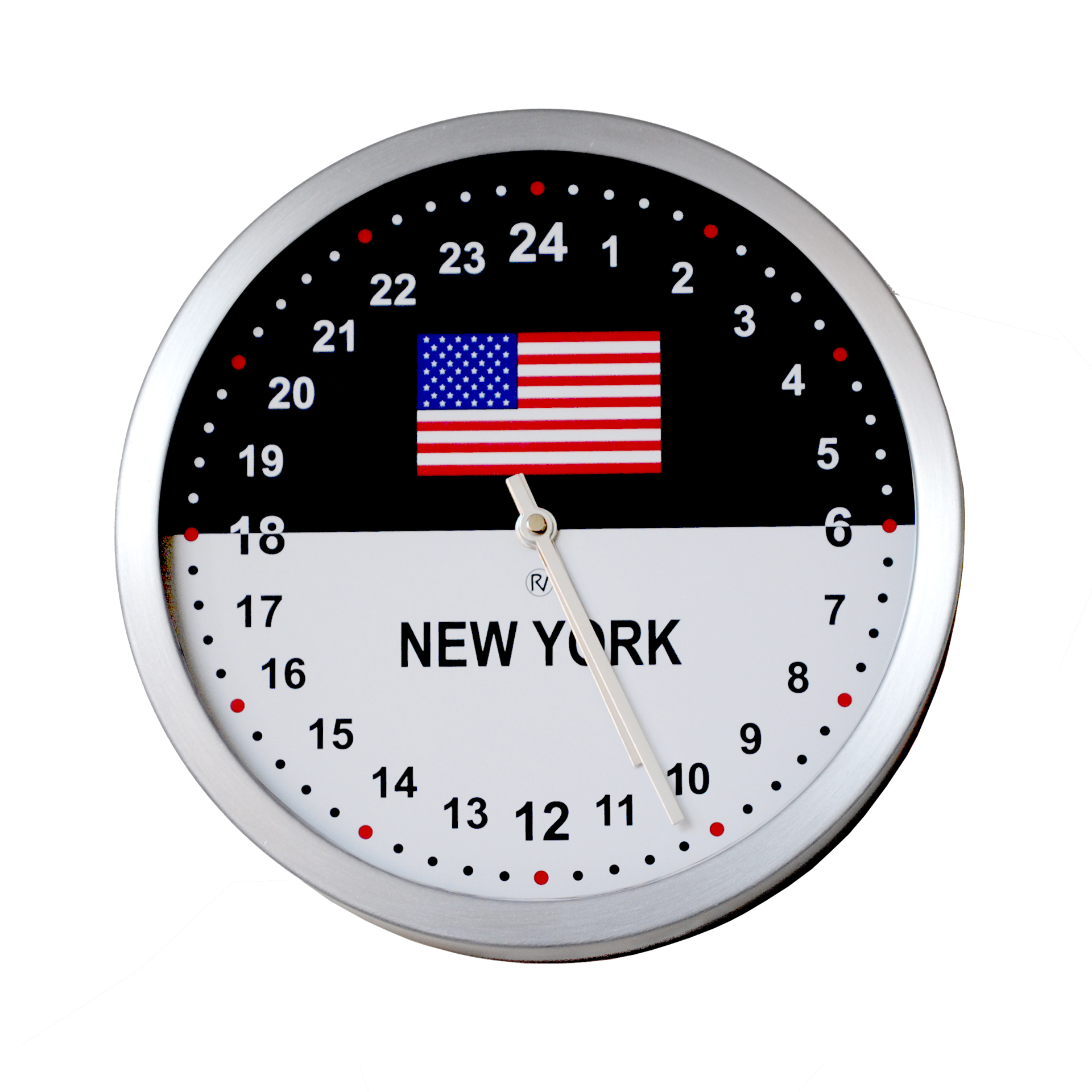 24hr Time Zone Flag Clock 26cm Diameter Brushed