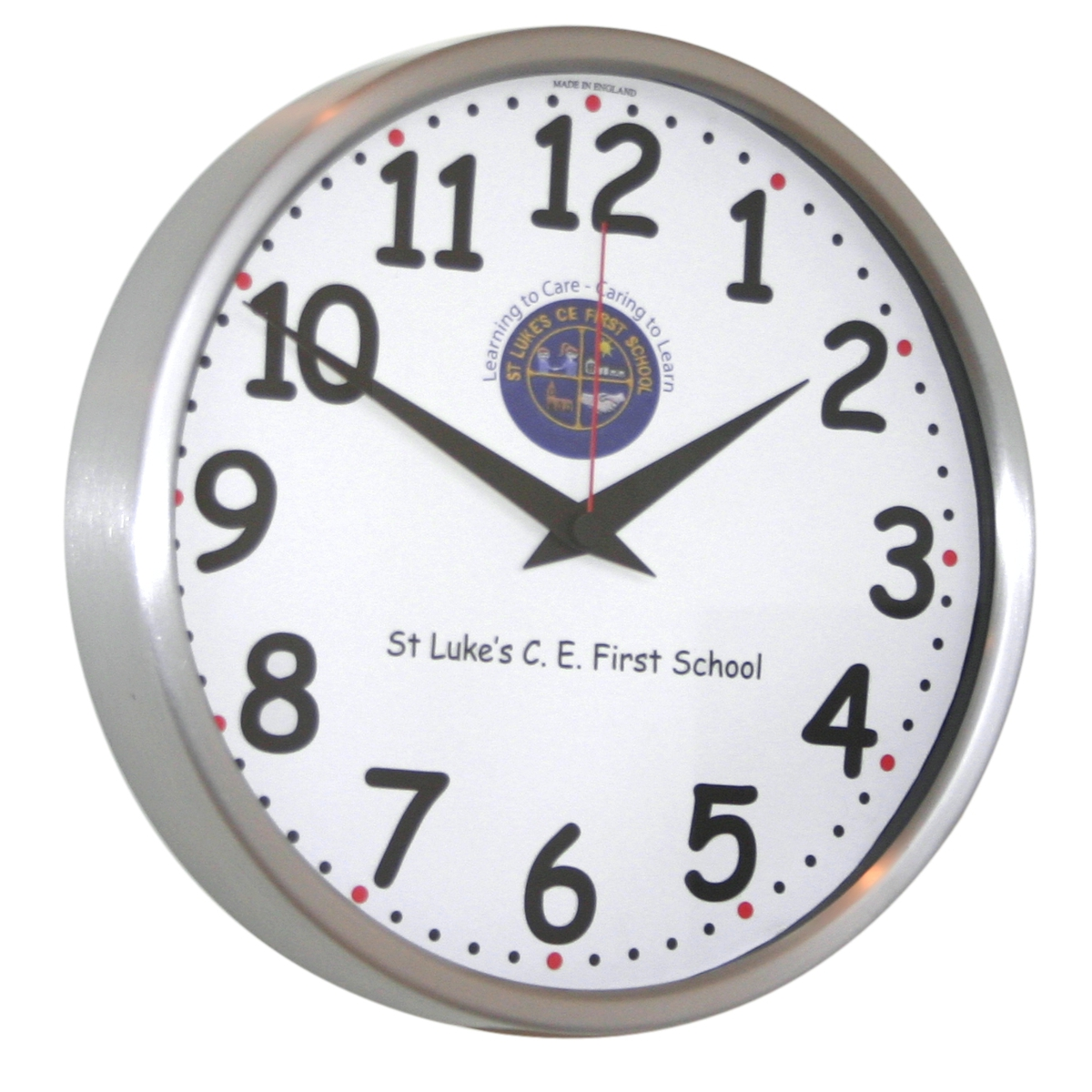 26cm Chunky Numbers Modern Classic School Clock 26cm Diameter Brushed