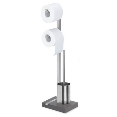 Blomus Menoto Toilet Roll & Brush Holder Brushed